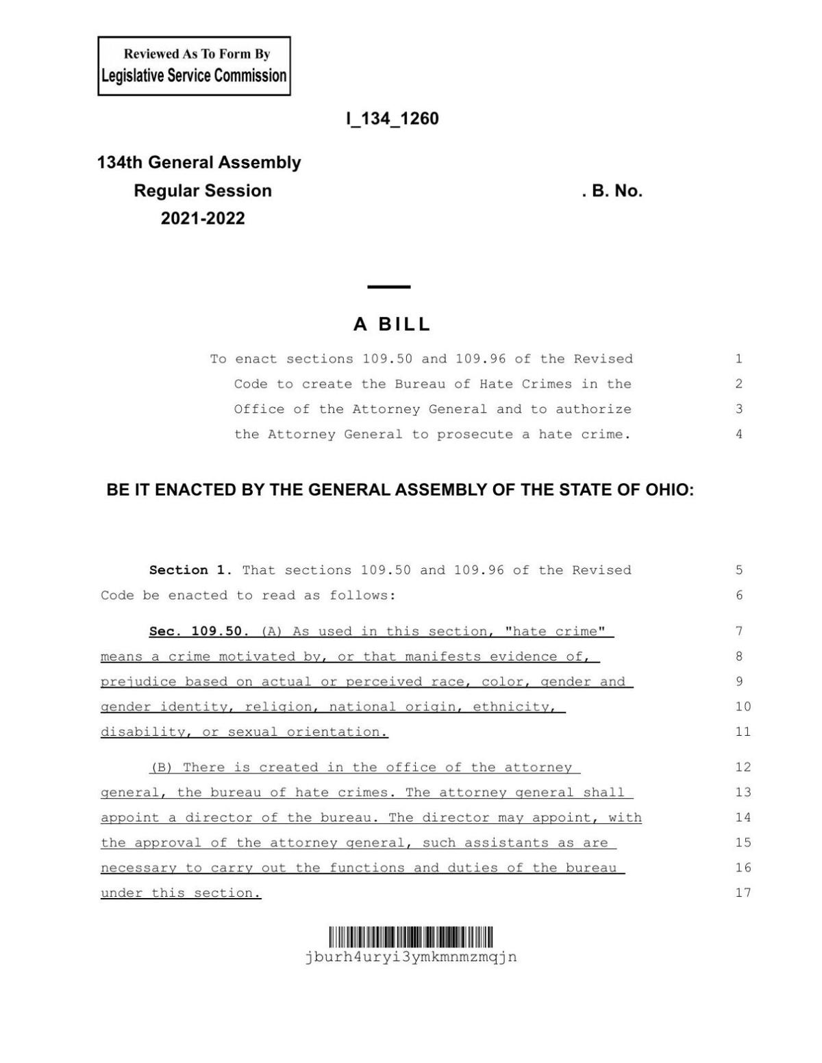 Bill to establish a Bureau of Hate Crimes in the Office of the Attorney General