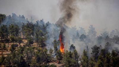 A fire at Neve Ilan near Jerusalem, June 9, 2021.