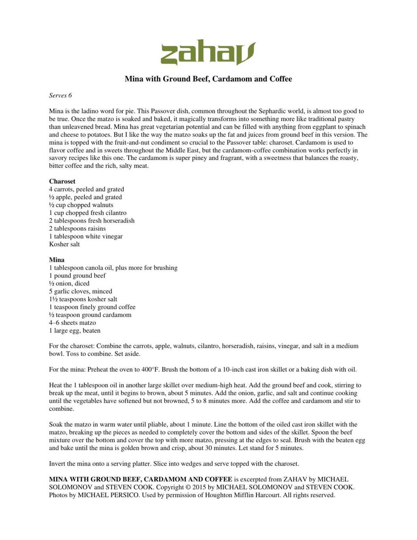 Virtual cooking program recipe: Mina with ground beef, cardamom and coffee