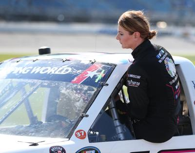 Driver Jennifer Jo Cobb gets into her truck during qualifying for the NASCAR Camping World Truck Series Overton's 225 at Chicagoland Speedway on June 29, 2018, in Joliet, Illinois.
