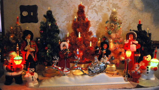 Candle-light trees from the 1930s and 1940s are part of Steve Kovar's vintage Christmas collection.