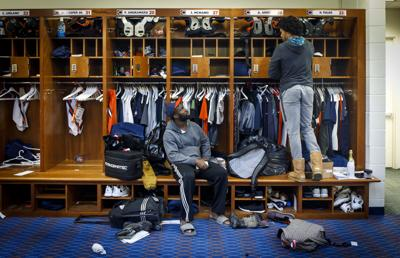 Chicago Bears cornerbacks Prince Amukamara, left, and Kyle Fuller talk as they pack their lockers as the season ends on Janaury 1, 2018, at Halas Hall in Lake Forest, Ill.
