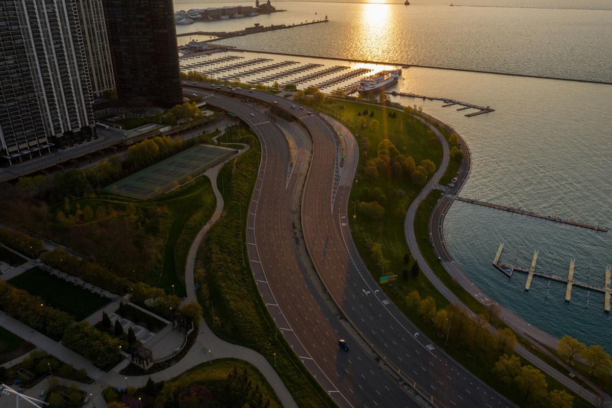 AN Aerial view of South Lake Shore Drive, seen from Maggie Daley Park in Chicago in May 2020.