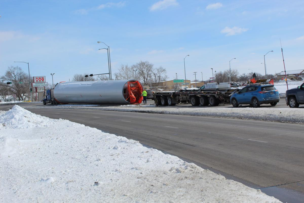 A Wind Turbine On Wednesday Fell Off Of Semi Truck In Traffic While Traveling Near Howard Boulevard