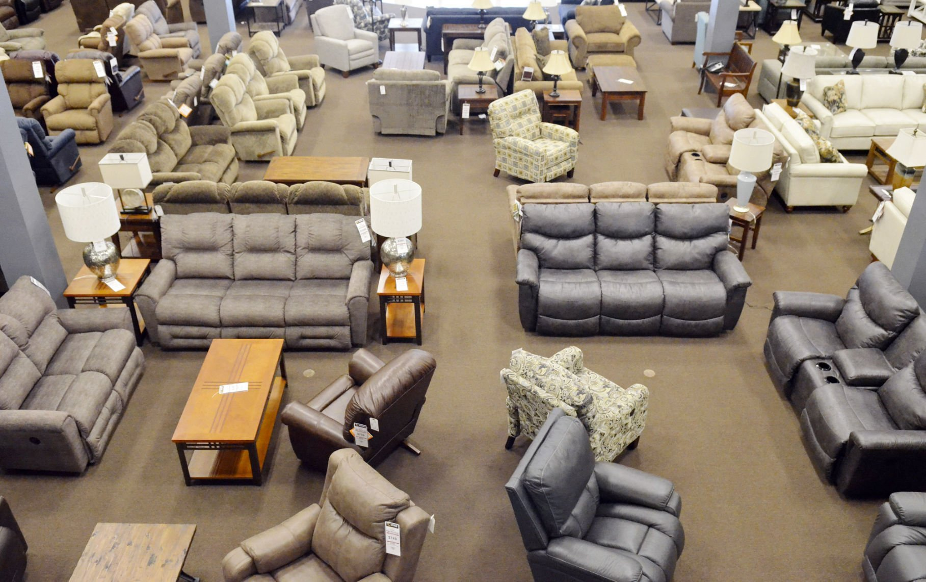 A View From The Mezzanine Level Of The New Downtown Furniture Store, TC  Home Furnishings, Shows Some Of The Inventory Of La Z Boy And Southern  Motion Brand ...