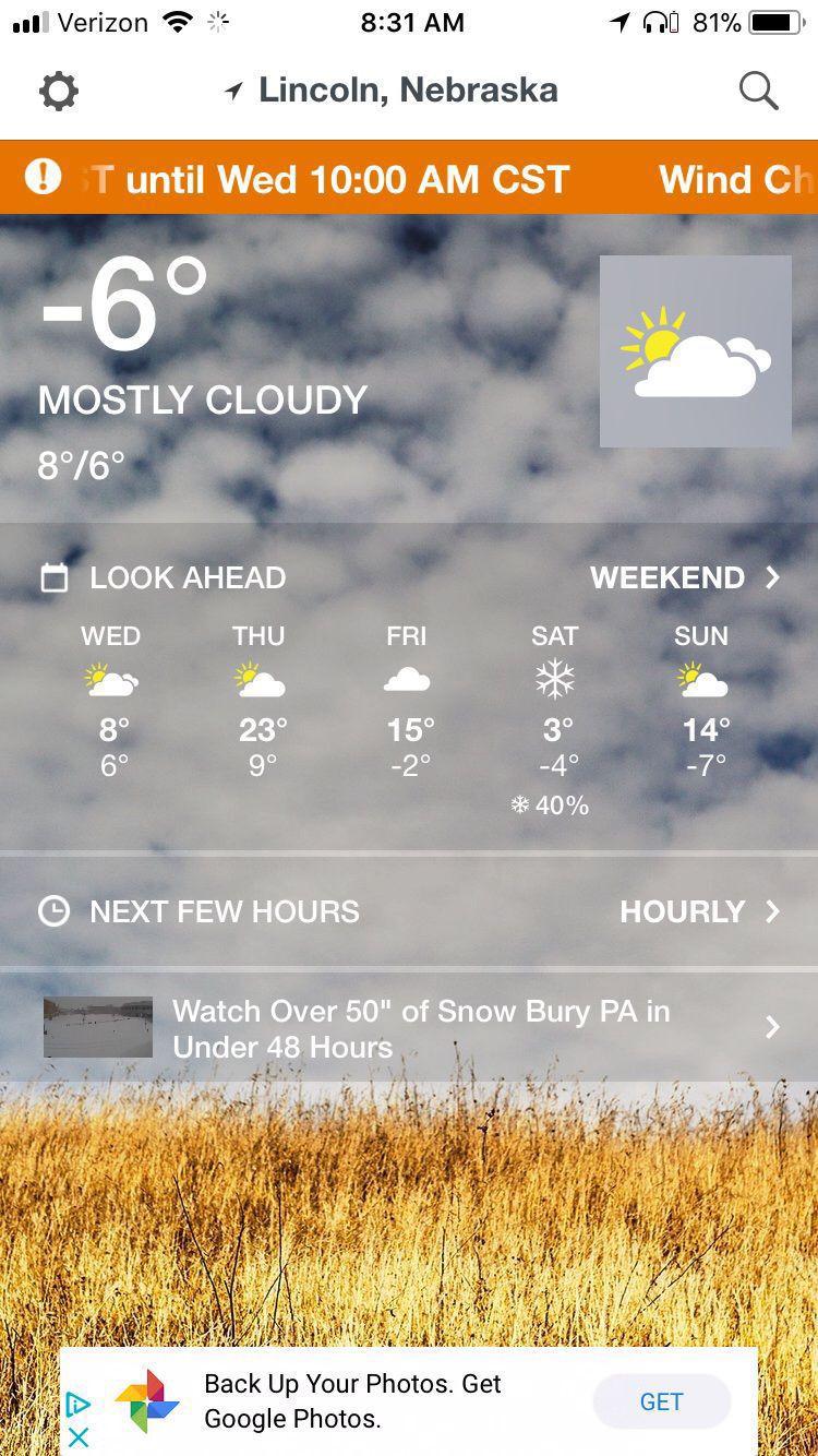 Weather app screenshot