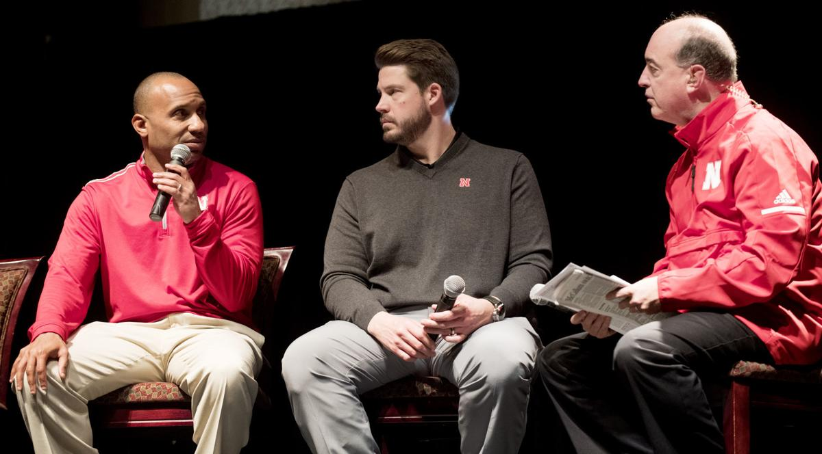 Husker football coaches at the Rococo Theatre