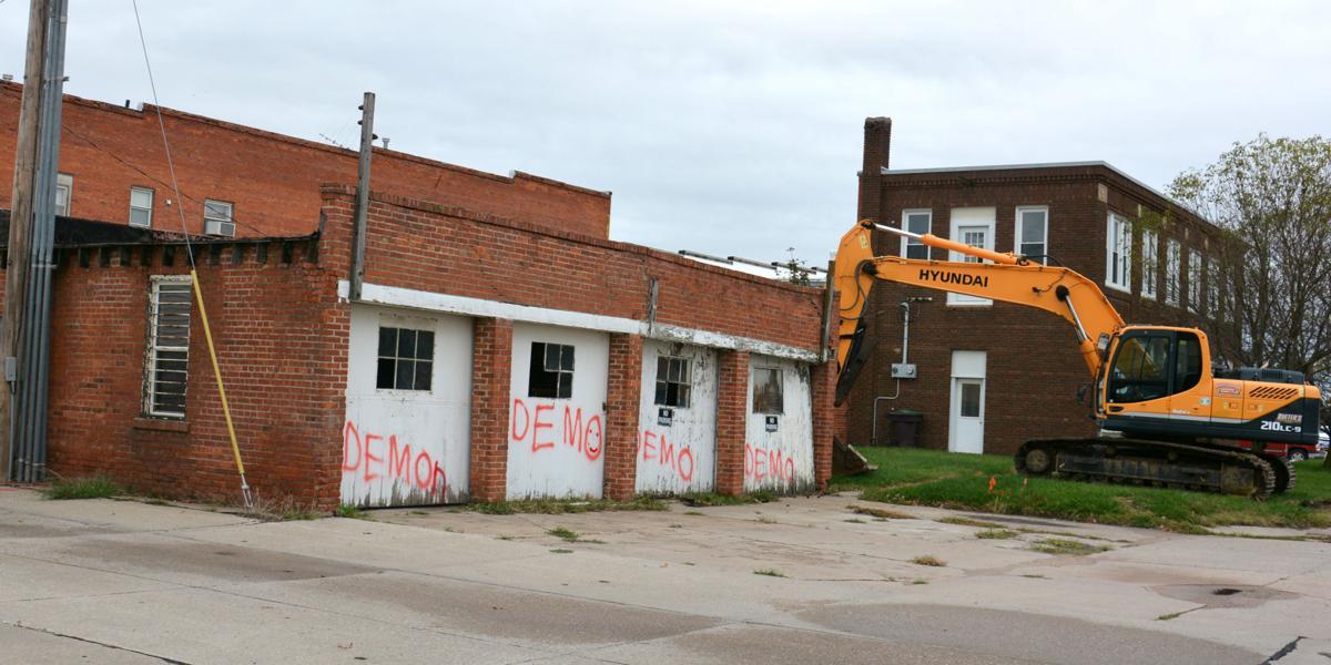 Telephone Company garage razed