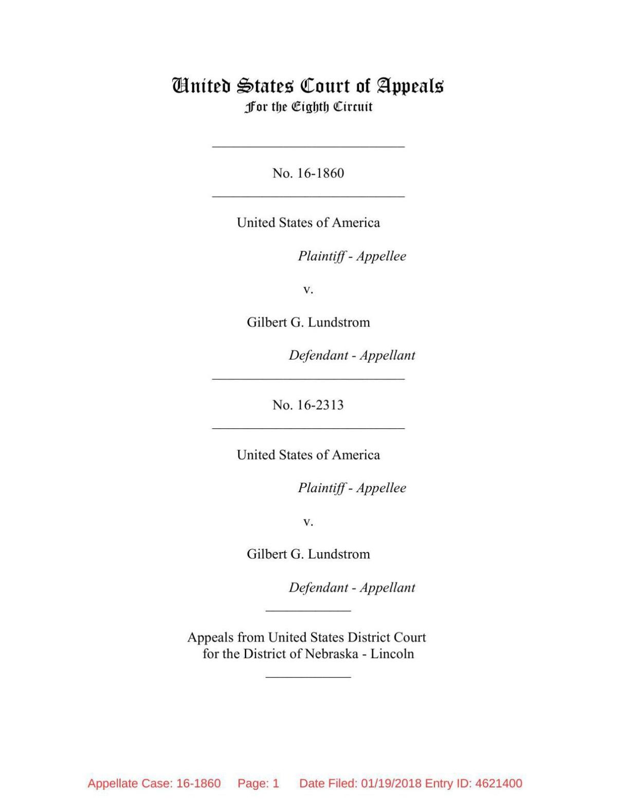 8th Circuit opinion on 'Gil' Lundstrom