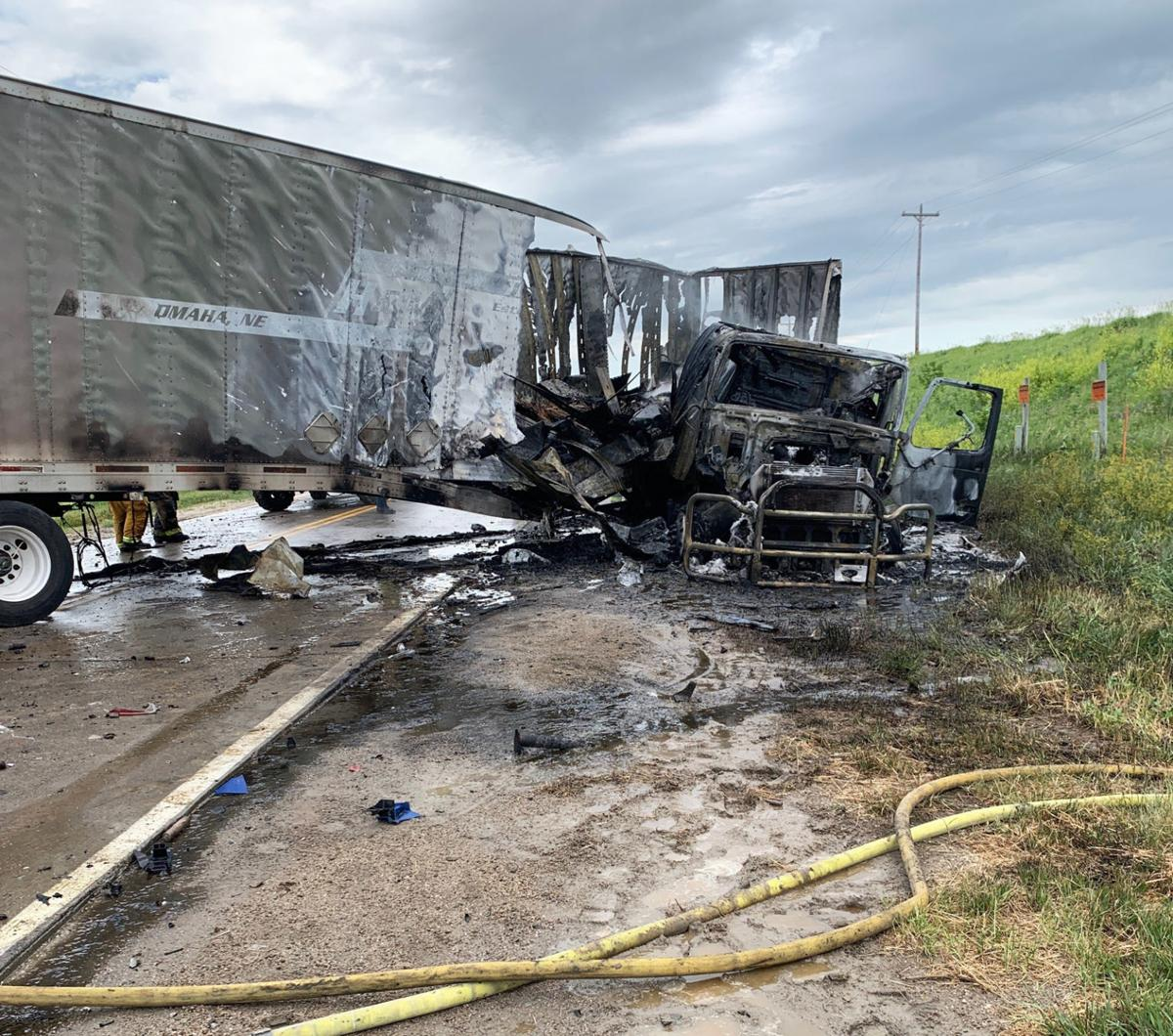 2020 semi fire near Uehling