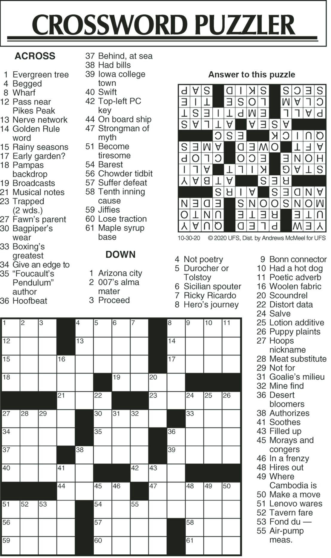Crossword Puzzle 103020