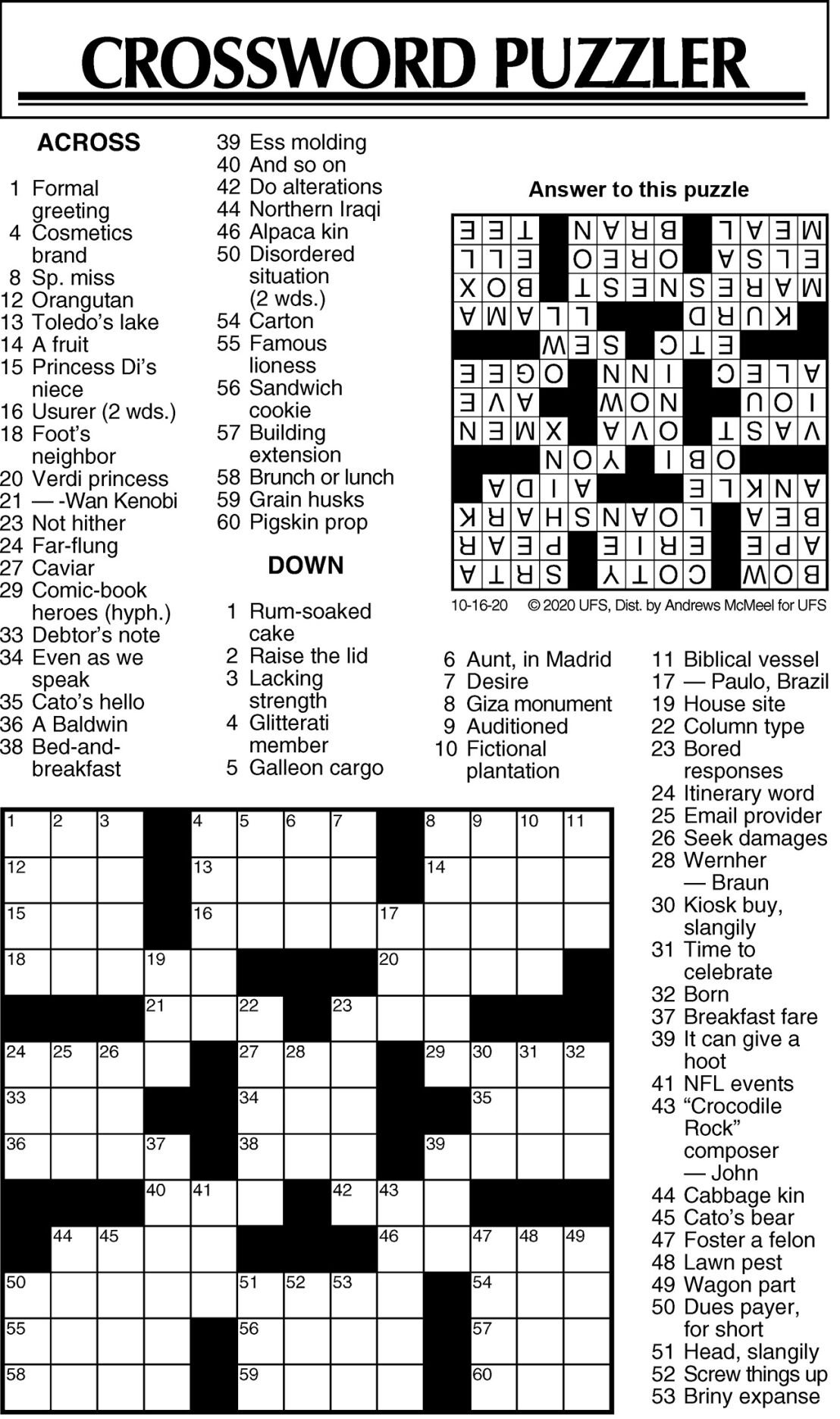 Crossword Puzzle 101620 JPG