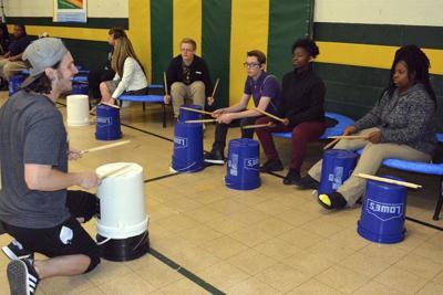 Students enjoy Adrenaline Drumming