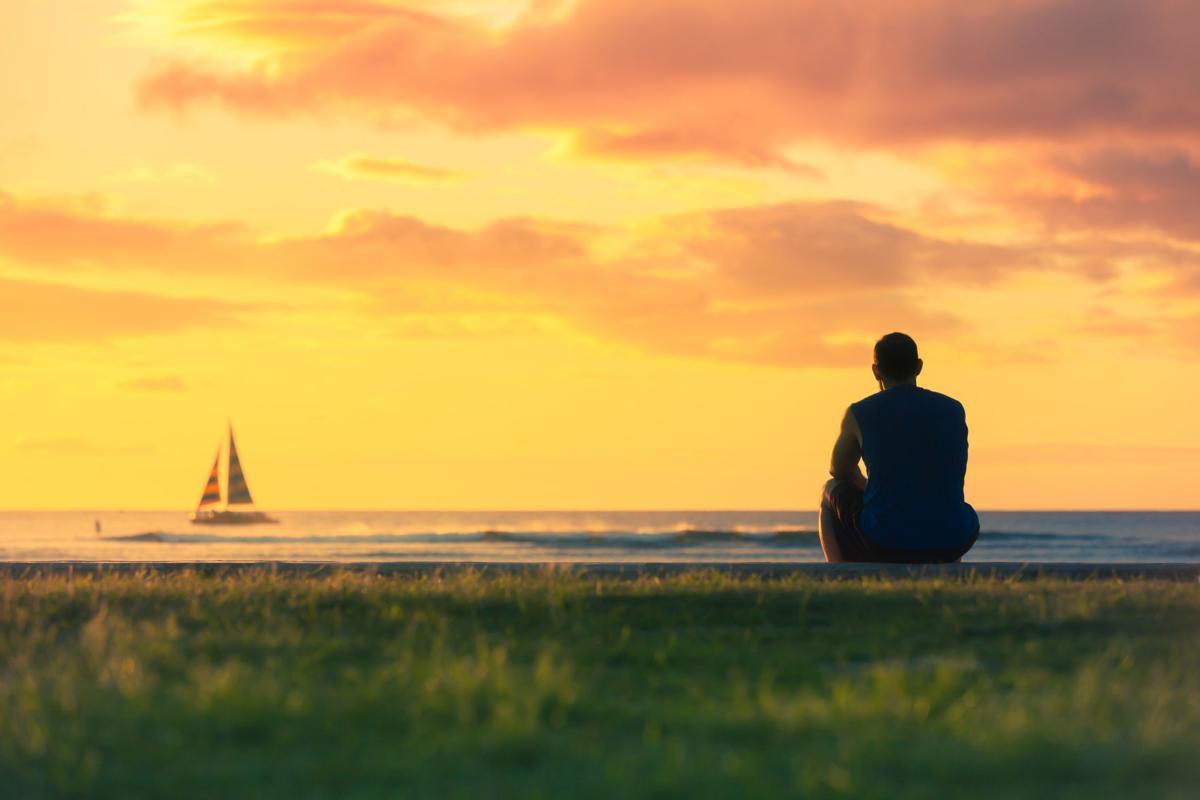 Men watching the sunrise