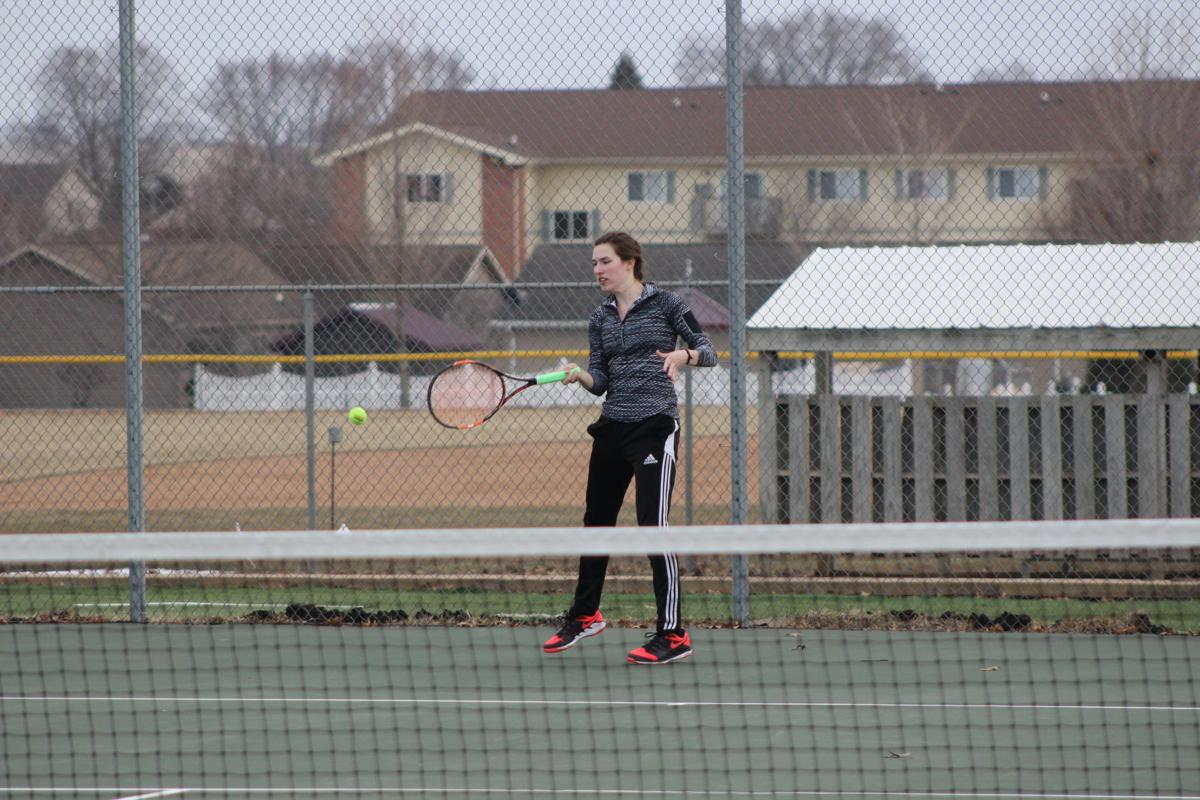 match & flirt with singles in grundy center Ashlyn hughes returns a ball during her match at no 3 singles against grundy center's reegan zinkula hughes was victorious, 10-0.