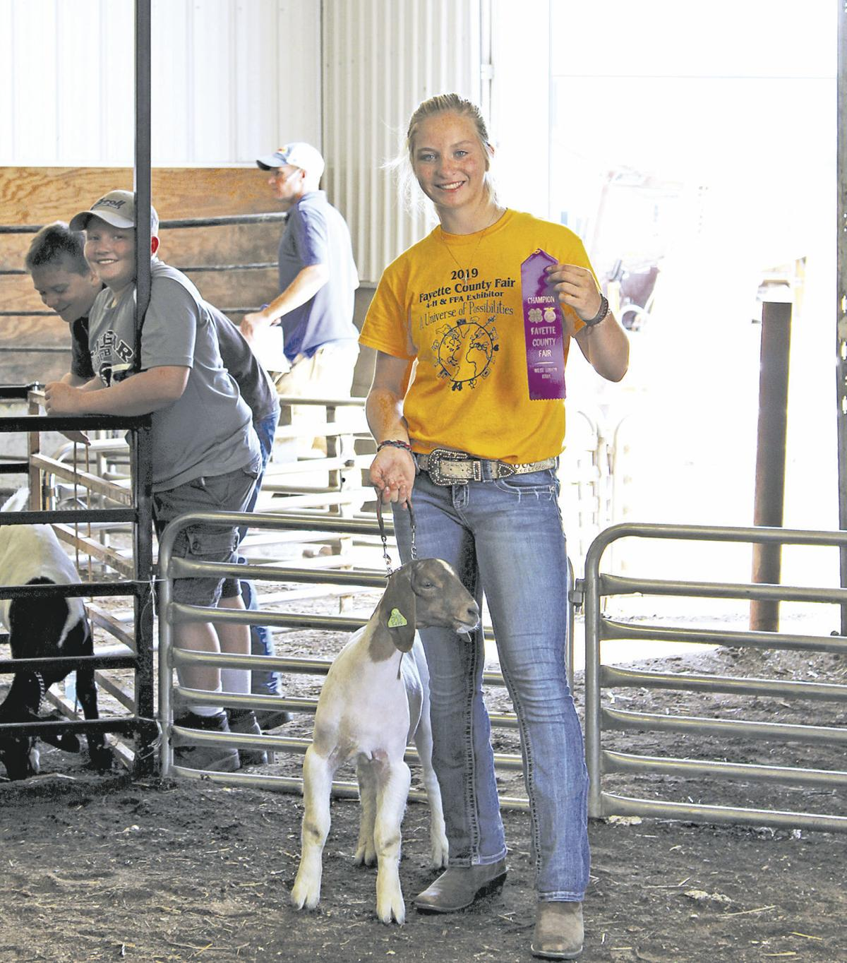 Light weight meat goat champion Molly Niewoehner