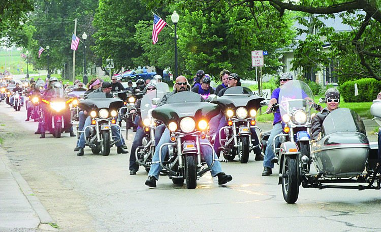 """The """"Memorial Ride and Drive for the Girls,"""" came through Quasqueton Saturday, as approximately 260 motorcyclists and 25 car enthusiasts stopped for refreshment, during Quasky's Tepee Days Celebration."""
