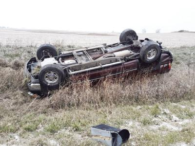 Pickup rollover on Highway 18