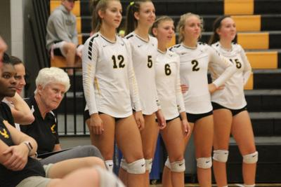 W-SR volleyball coach EaVon Woodin looks on
