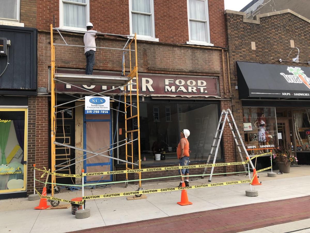 Contractors on façade