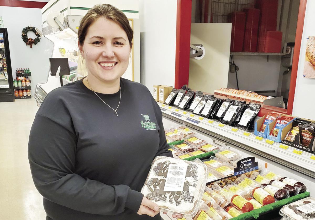 Jennifer Davis displays grab-and-go dessert at Fairbank Food Center