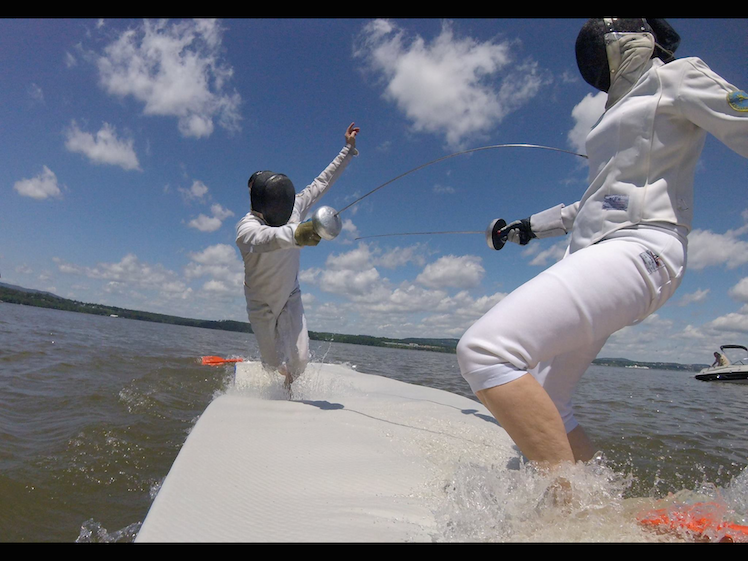 Sandra Marchant fencing on the water