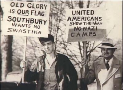 Southbury residents take to the streets to protest the opening of a pro-Nazi camp in 1937.