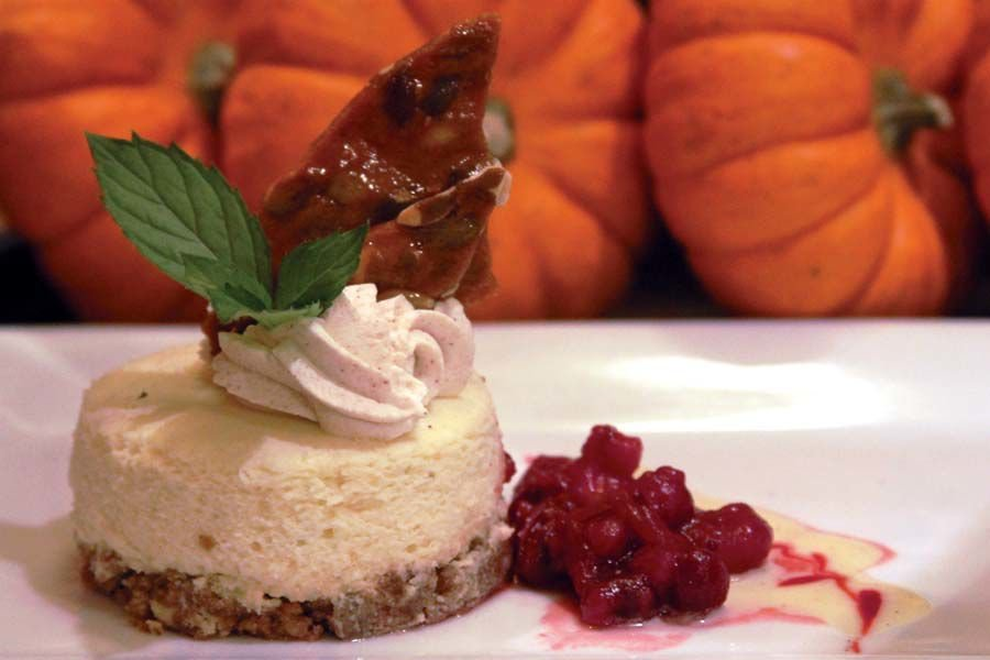 Pumpkin cheesecake_garnished with sprig of mint, cranberry chutney_photo by Todd Brown.jpg