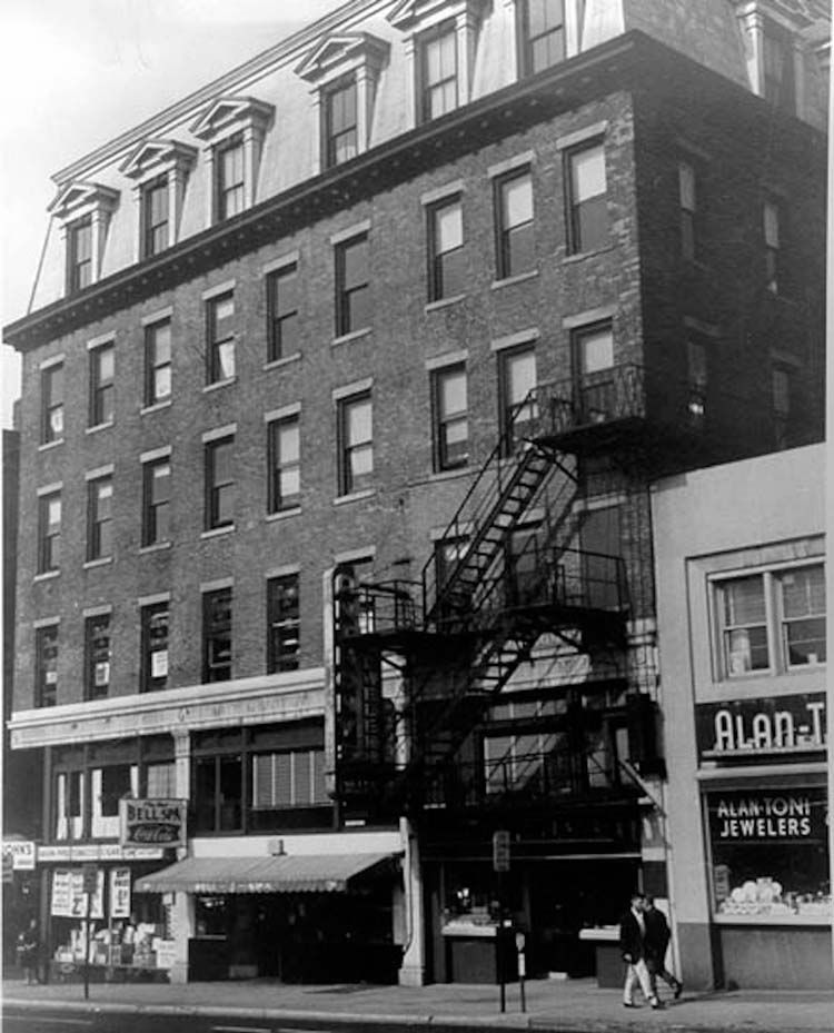 The New Haven District Telephone office and the first telephone exchange were located in the storefront with the awning. Courtesy of National Park Service, National Historic Landmarks Program.