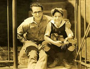 A young Johnny Downs with legendary comedian Harold Lloyd.