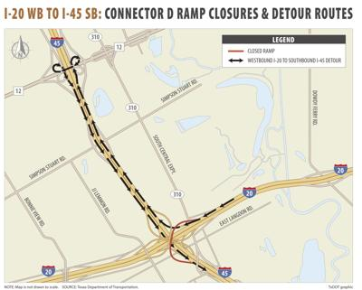 IH 20 at IH 45_Connector D Ramp Closures_MAP
