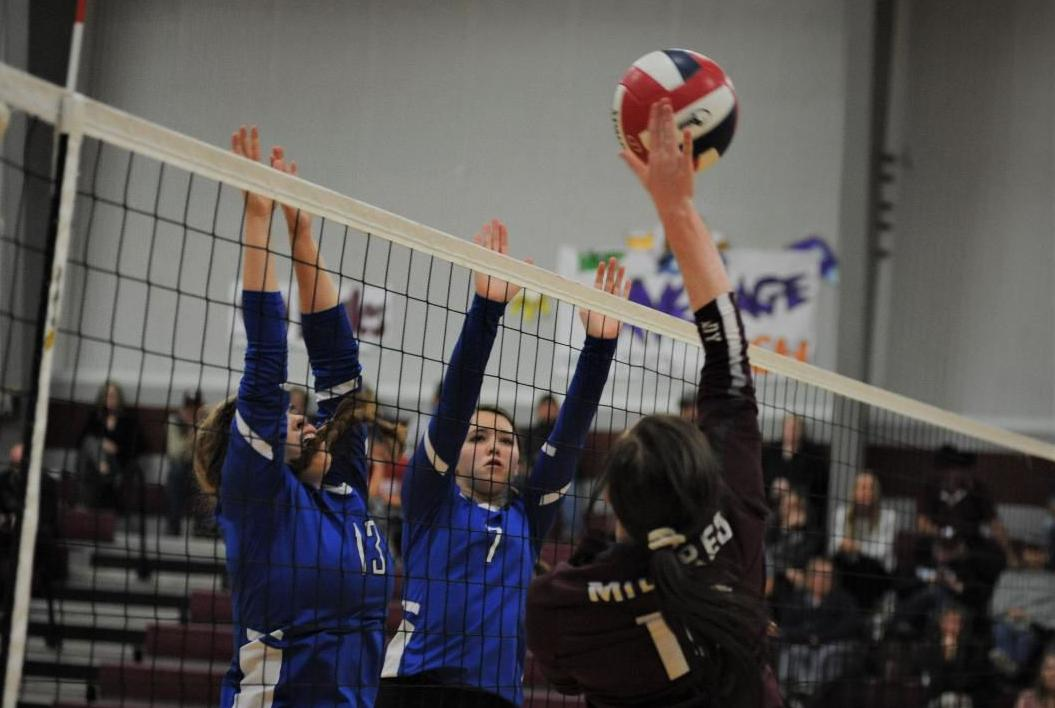 Mildred's Kenli Dalton and BG's Tory Cox (13) and Katie Wiginton (7)