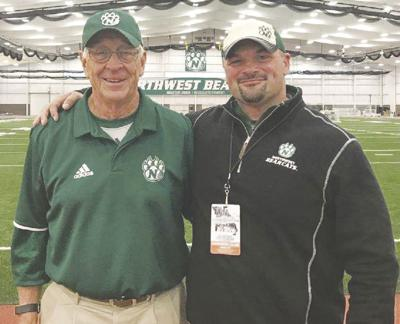 Shown in photo is Northwest Missouri State Former Head Coach Mel Tjeerdsma alongside Josh Knutson as they celebrate the 20-year reunion with other members from the 1998 National Championship football team.