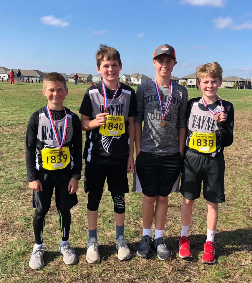Seventh grade Wayne Junior High cross country members placed third in state competition on Saturday, Oct. 13. Pictured left to right: Levis Moss, Rayce Snyder, Kenton Prunty and Connor Pruiett.