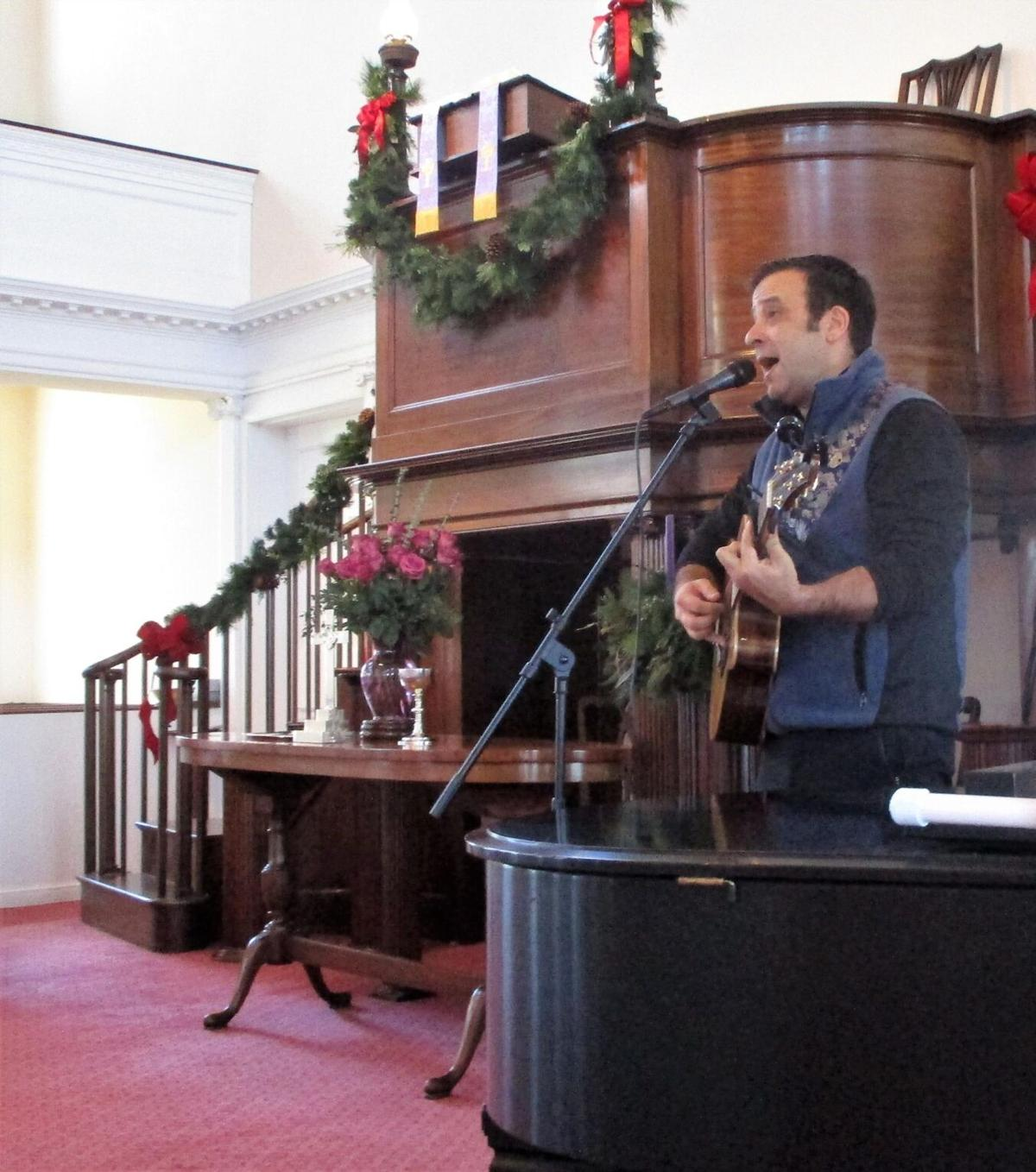 Drama and pathos moves Litchfield Congregational Church parishioners when Ian Campbell sings