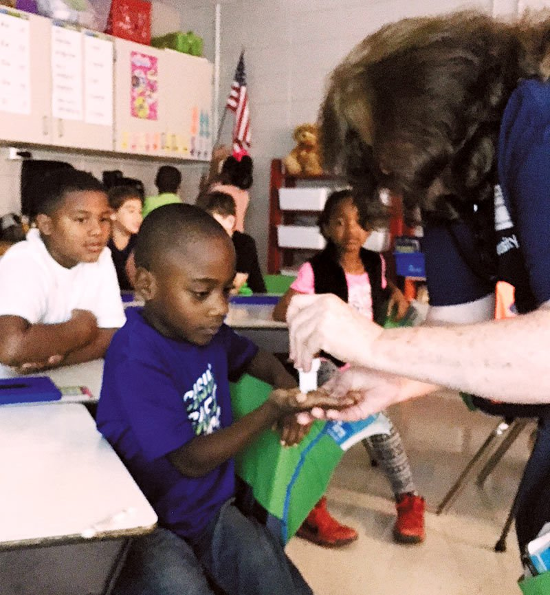 Second Graders Learn About Germ-Killing and Handwashing