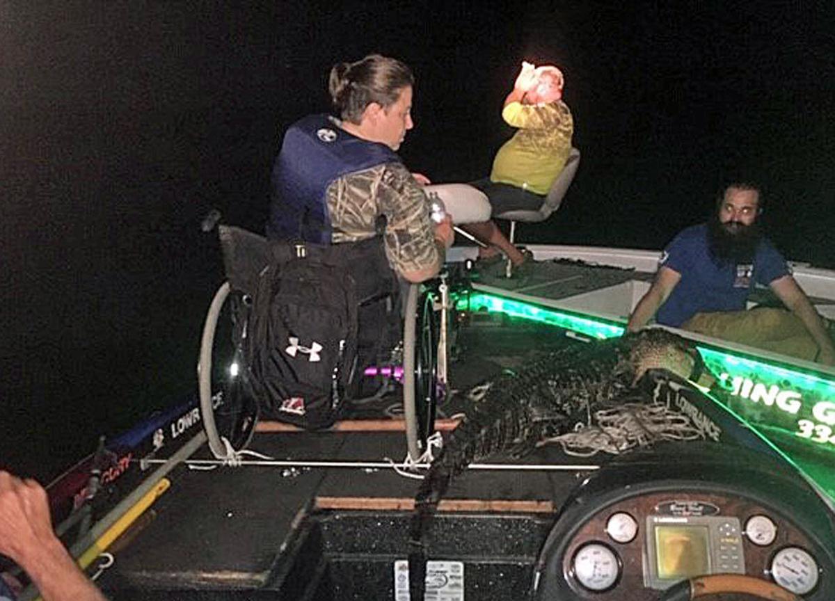 Wheelchair-Bound Stone Bags Gator at Eufaula