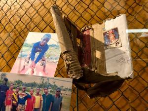 Nigeria Little Leaguer's cardboard glove