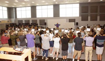 Band performs in new center