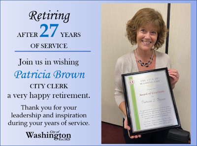 City of Washington's City Clerk Pat Brown retires after 27 years