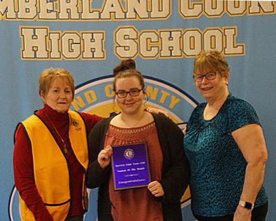 """""""Pictured (L-R) are Lion member Denise Olsen, May """"Student of the Month"""" MacKenzie Margrave, and School Counselor Barbara Bridges."""".jpg"""