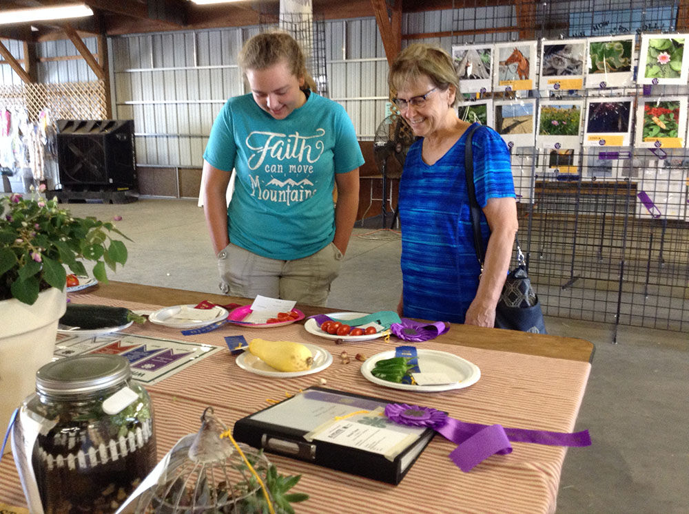 Quilts and vegetables on display
