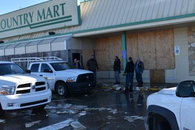 Former Country Mart building floods after water line bursts