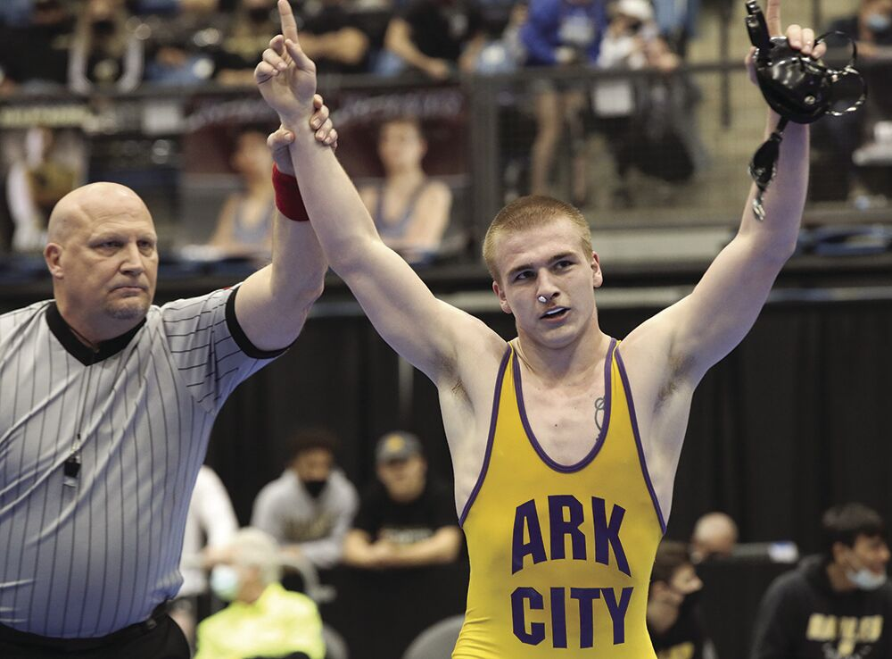 Arkansas City High School senior Trig Tennant completes undefeated season with second straight State title