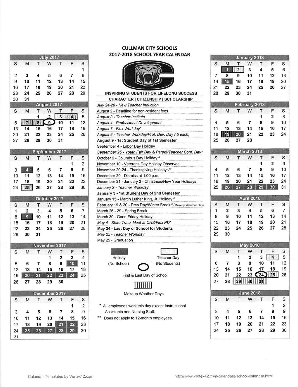SCHOOL DAYS: 2017-2018 Calendars for Cullman County, City