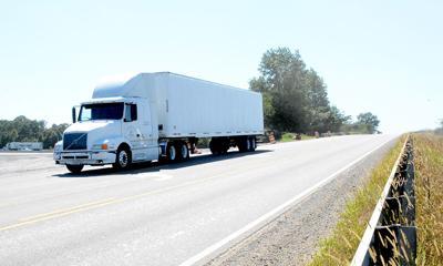 A truck travels along Interstate 65