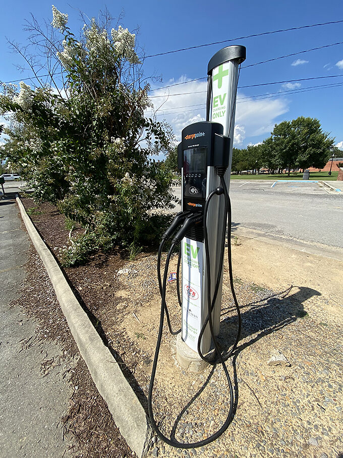 City electric vehicle charging station