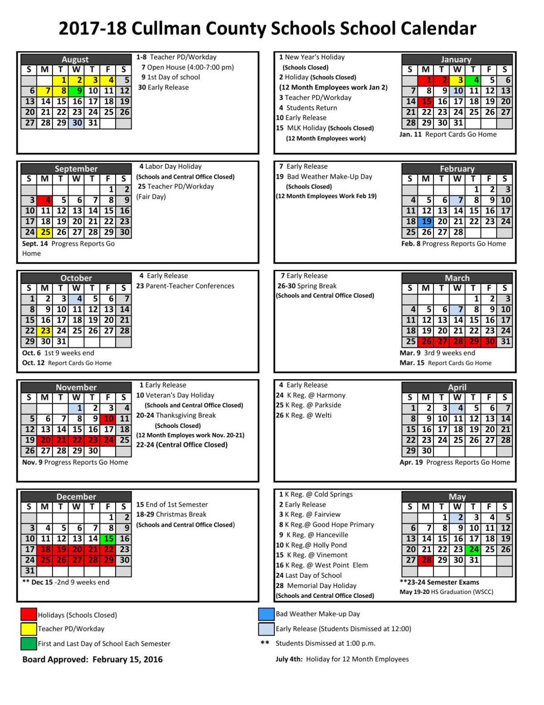 Cullman County Schools 2017 2018 Calendar | | cullmantimes.com