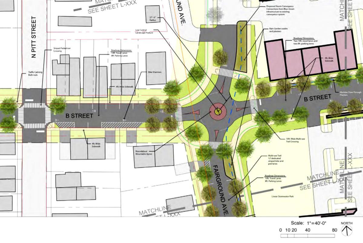 B Street roundabout