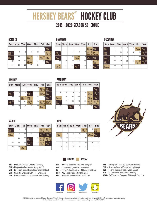 2019-20 Hershey Bears schedule